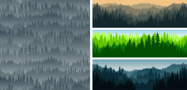 :set of vector mountains forest woodland background texture seamless pattern - forest stock illustrations