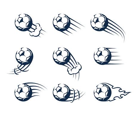 Set of Vector Moving Soccer Balls