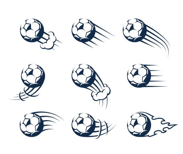 bildbanksillustrationer, clip art samt tecknat material och ikoner med uppsättning av vector rörliga fotbollar - soccer