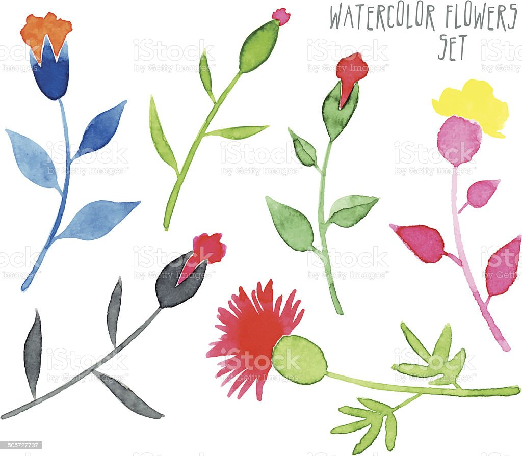 set of vector multicolored watercolor stylized flowers royalty-free stock vector art