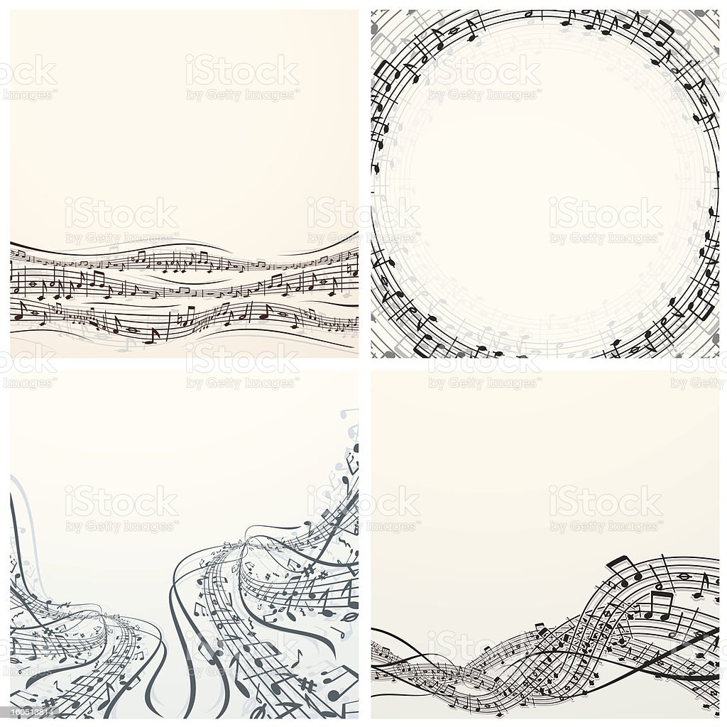 Set of Vector Music Backgrounds vector art illustration