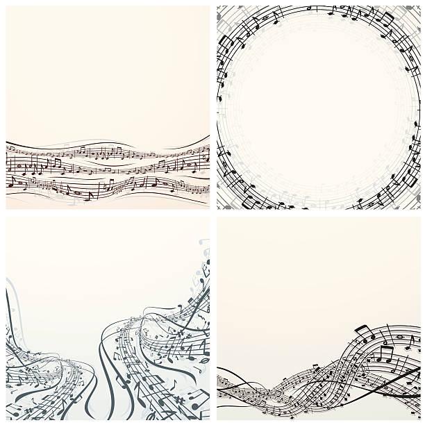 bildbanksillustrationer, clip art samt tecknat material och ikoner med set of vector music backgrounds - orkester