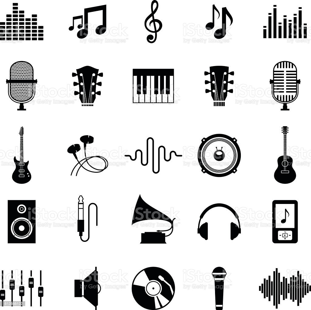 Set of Vector Music Icons Isolated on White vector art illustration