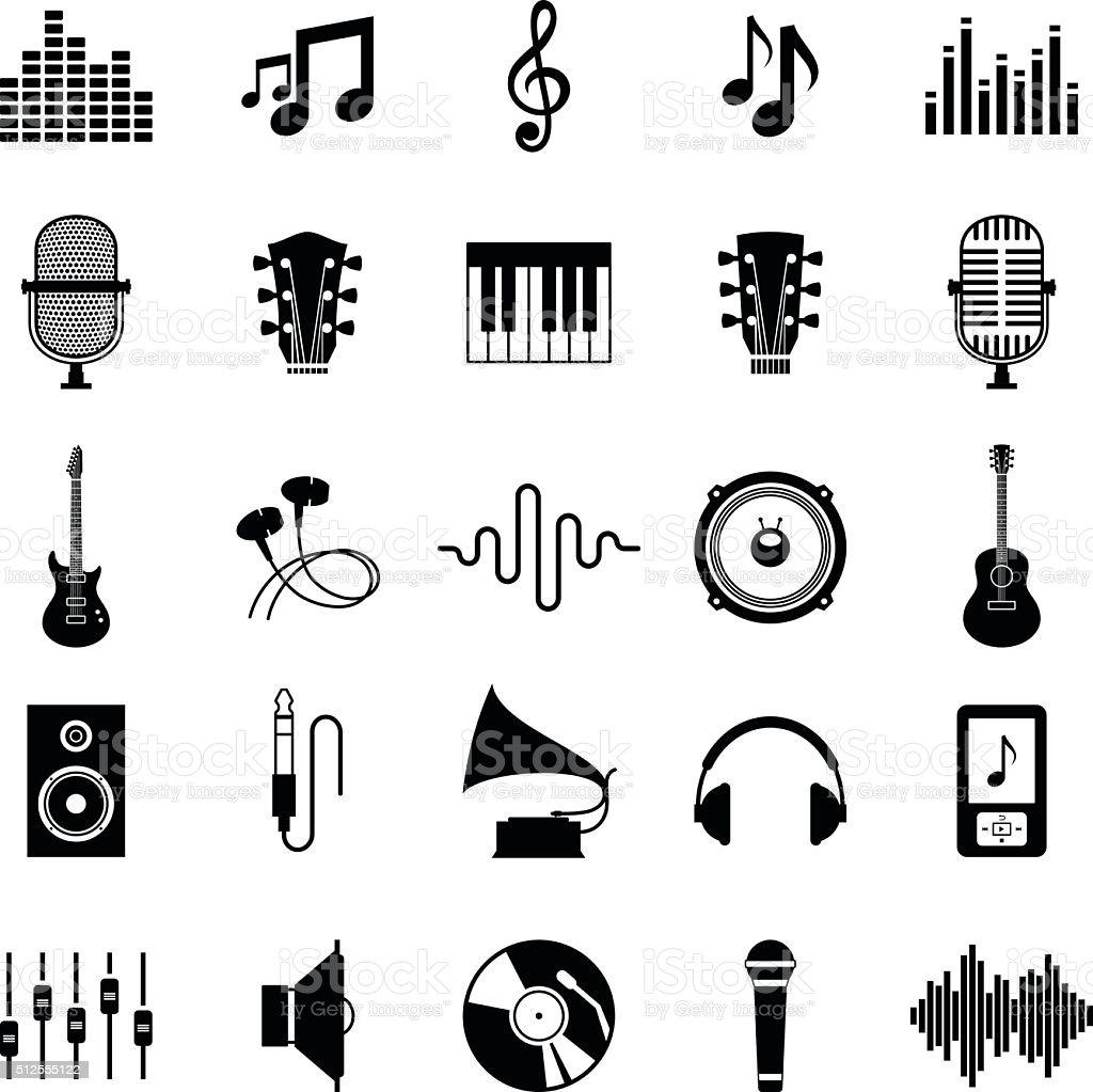Conjunto de iconos Vector de Aislado en blanco de música - ilustración de arte vectorial