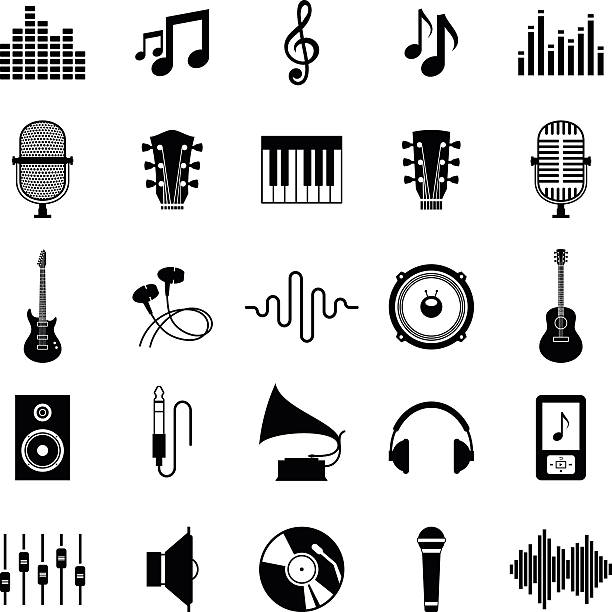 bildbanksillustrationer, clip art samt tecknat material och ikoner med set of vector music icons isolated on white - illustrationer med headphones