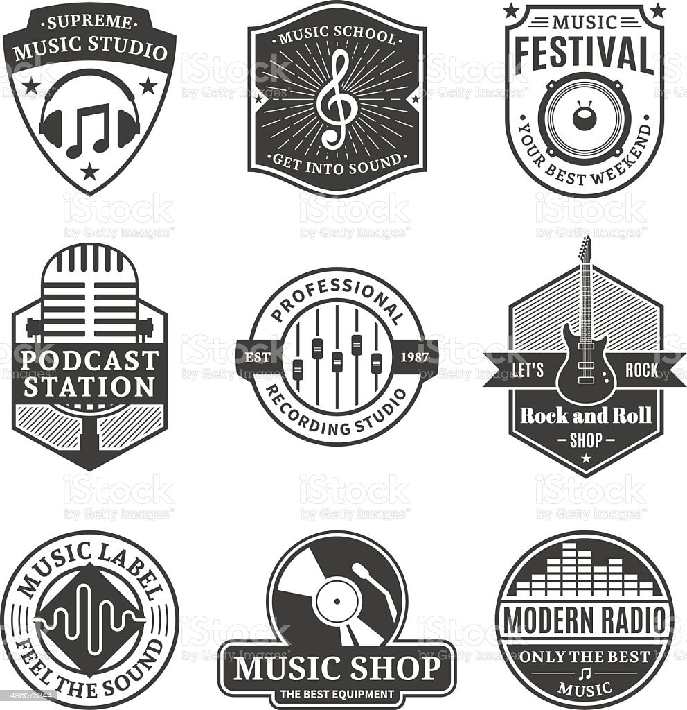 set of vector music labels icons and design elements stock vector