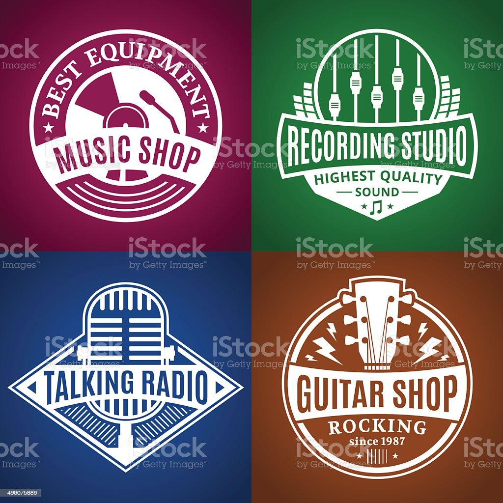 Set Of Vector Music Labels Icons And Design Elements Stock