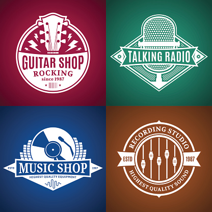 Set of Vector Music Labels, Icons and Design Elements