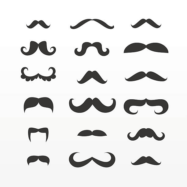 set of vector mustaches - old man mask stock illustrations, clip art, cartoons, & icons