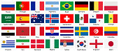 Set of vector national flags icons isolated on white background.