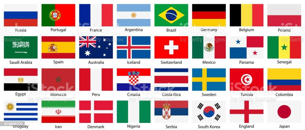 Conjunto de vector nacional banderas iconos aislados sobre fondo blanco. - ilustración de arte vectorial