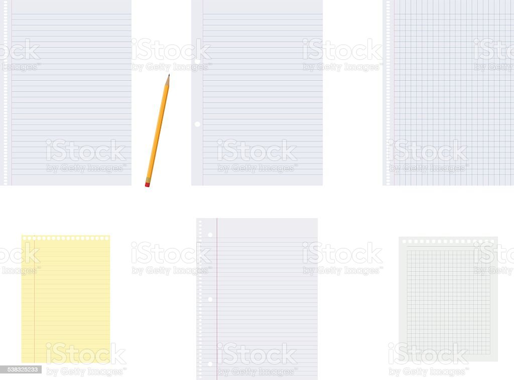 Set of vector notebook papers and a pencil vector art illustration