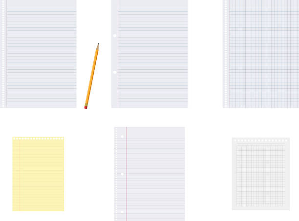 Set of vector notebook papers and a pencil Set of different vector notebook papers and a pencil, just in case you want to write something on them. shopping list stock illustrations