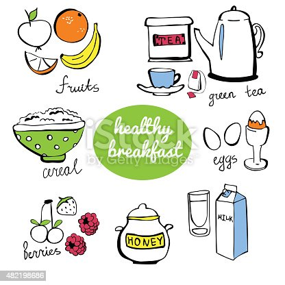 Set of vector doodle objects Healthy breakfast. Fruits, eggs, berries, honey, cereal, tea and other isolated objects. Freehand drawn items with black outlines and colorful elements.