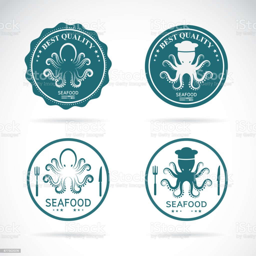 Set of vector octopus seafood labels on white background. Animal. vector art illustration