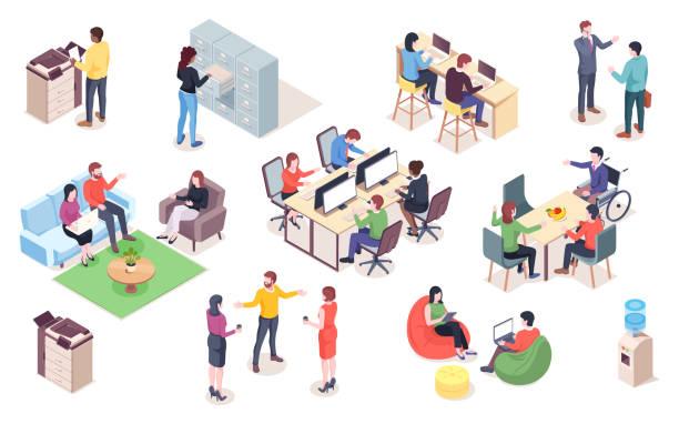 zestaw wektorowych elementów biurowych z ludźmi. elementy coworkingu izometrycznego lub otwartej przestrzeni dla infografiki lub ikony biznesowej spotkania. mężczyzna i kobieta pracują w miejscu pracy, recepcji. wnętrz - rzut izometryczny stock illustrations