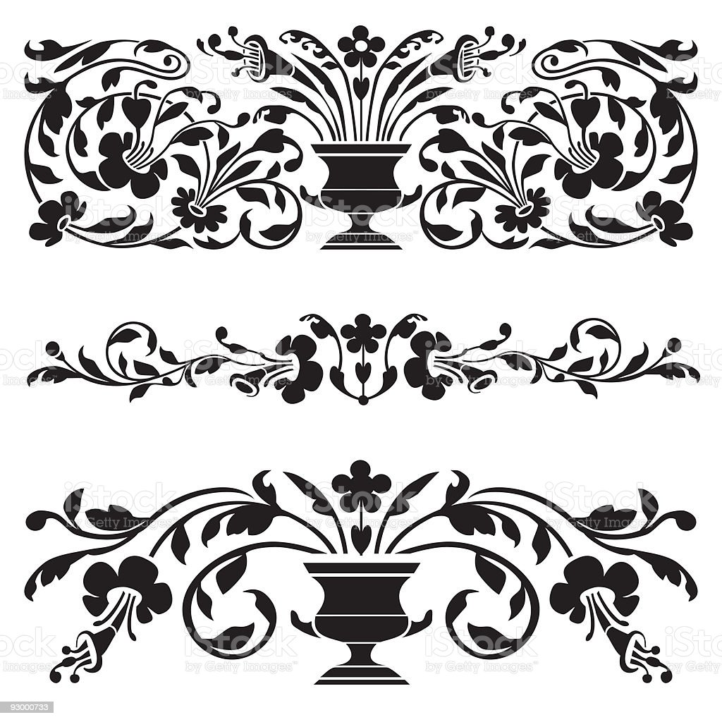Set of vector old ornaments vector art illustration