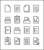 Set of vector outline file management icons