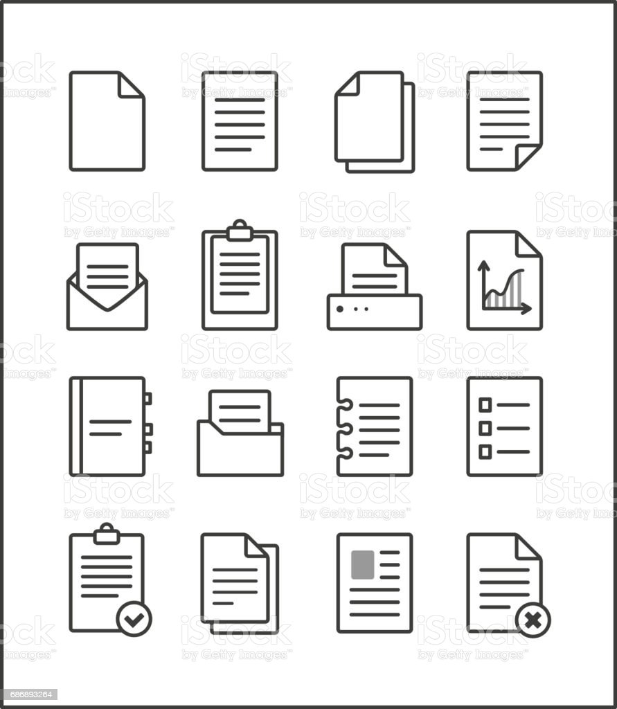 Set of vector outline file management icons vector art illustration