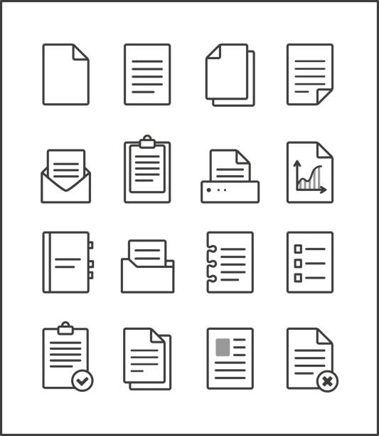 Set of vector outline file management icons Set of vector outline file management icons, document pictograms. File Icons. form document stock illustrations