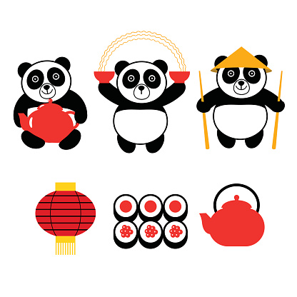 set of vector panda with asiatic food