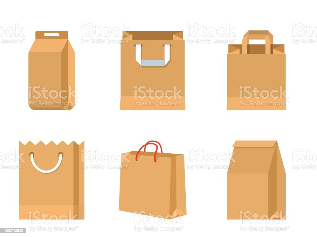 Set of vector paper brown bags vector art illustration