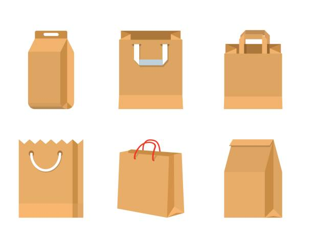 set of vector paper brown bags - junk food stock illustrations, clip art, cartoons, & icons