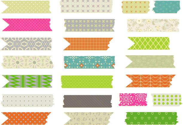 ilustraciones, imágenes clip art, dibujos animados e iconos de stock de conjunto de vector de tiras de cinta washi con diseño de arco iris - tape