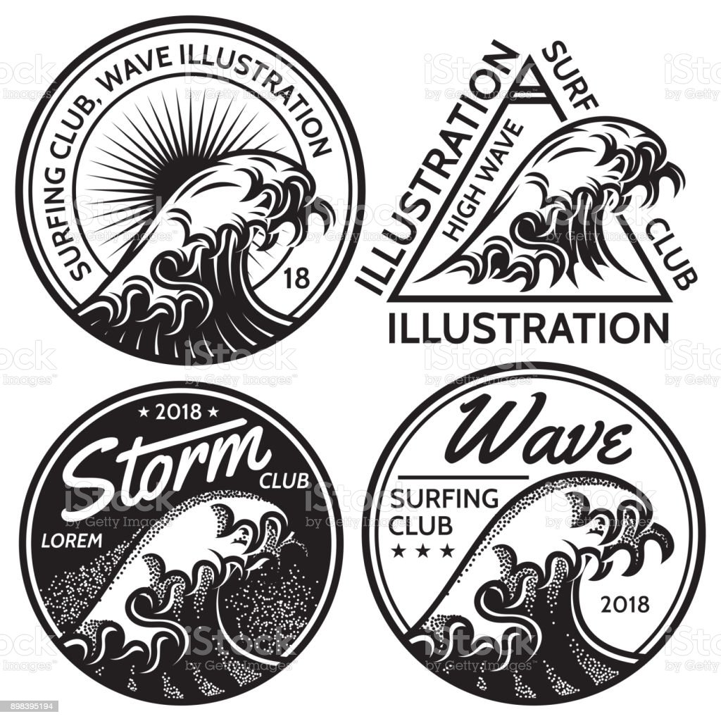 set of vector patterns for design on the theme of water, surfing, ocean, sea vector art illustration