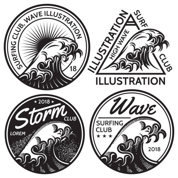 set of vector patterns for design on the theme of water, surfing, ocean, sea - tidal wave stock illustrations, clip art, cartoons, & icons