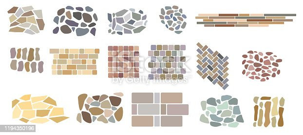 Set of vector paving tiles and bricks patterns from natural stone. Elements for landscape design plans isolated on white. Top view.