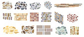 Set of vector paving tiles and bricks patterns from natural stone.
