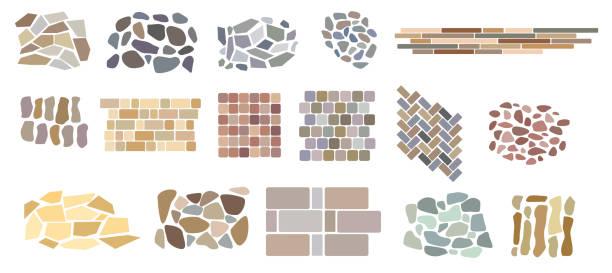 illustrazioni stock, clip art, cartoni animati e icone di tendenza di set di piastrelle di pavimentazione vettoriale e mattoni modelli di pietra naturale. - zona pedonale struttura creata dall'uomo