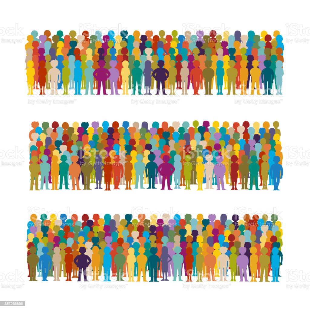Set of vector people groups arranged in a row in flat style vector art illustration