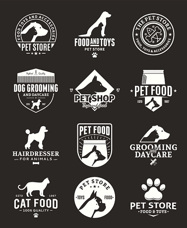 Set of vector pet labels and icons