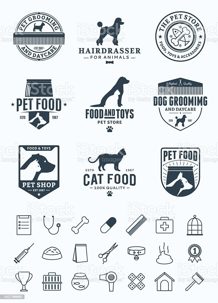 Set of vector pet labels, icons and design elements vector art illustration
