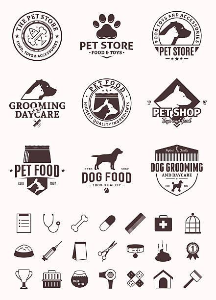ilustrações de stock, clip art, desenhos animados e ícones de conjunto de rótulos de vetor de animais de estimação, ícones e elementos de projeto - dog food