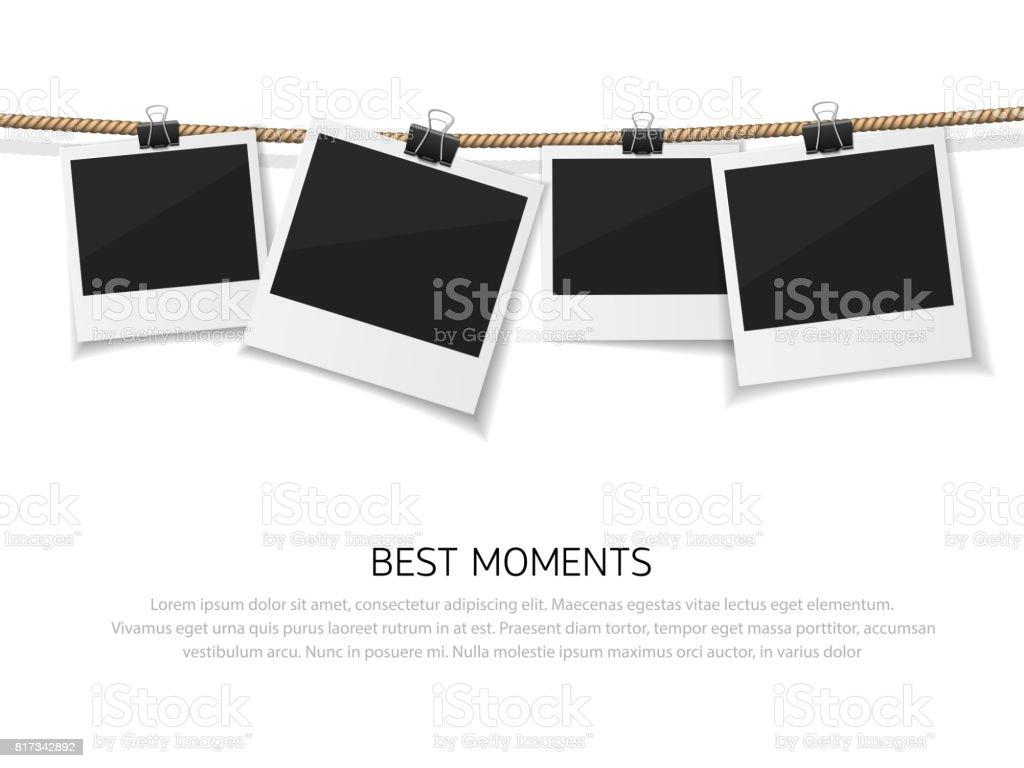 Ensemble de photo vector pendu sur corde. Style rétro réaliste fotos instantanée avec fil. Se souvenir du moment - Illustration vectorielle