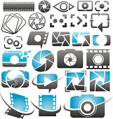 Set of vector photography and video icons, symbols, signs