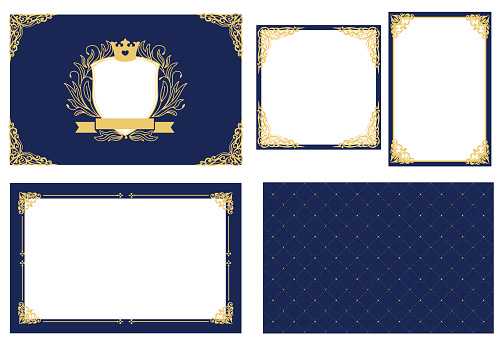 Set of vector picture frame. Dark navy blue with gold. Decorative corner.