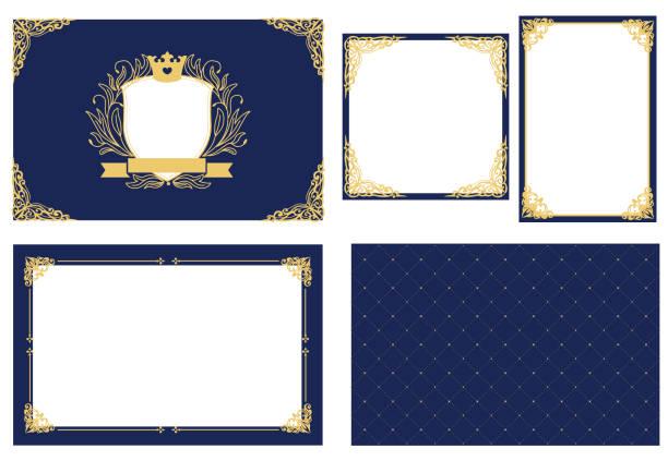 벡터 그림 프레임의 집합입니다. 금으로 어두운 해군 파란색입니다. 장식 코너입니다. - 왕족 stock illustrations