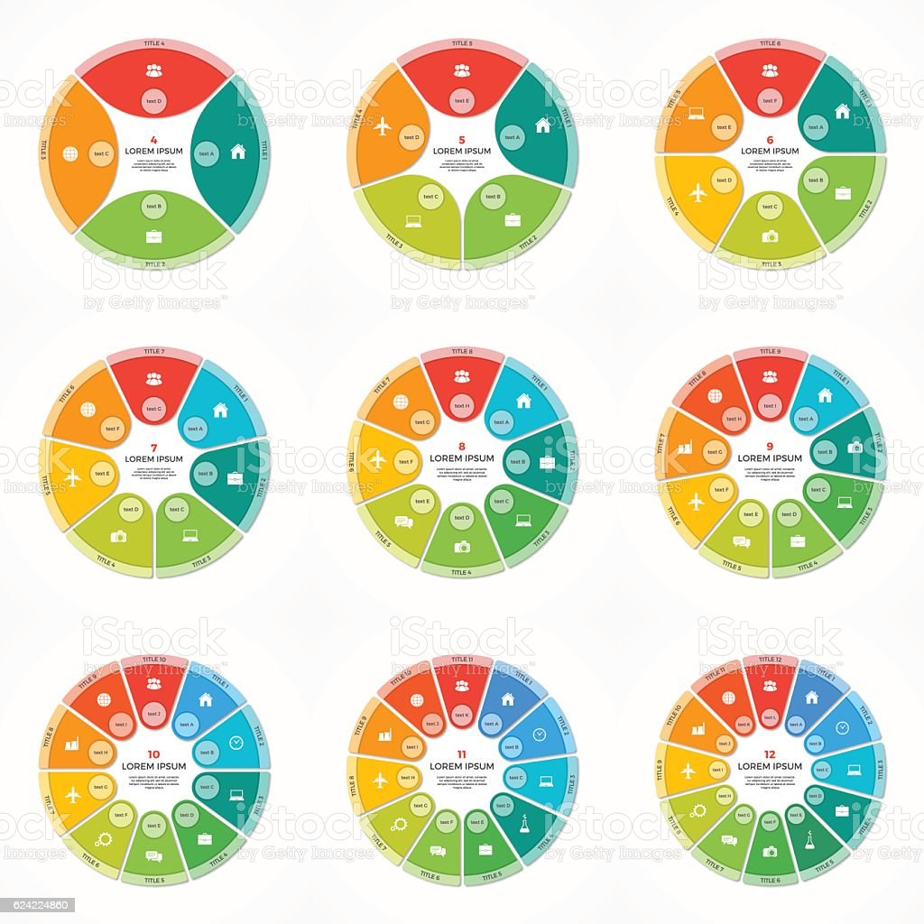 Set of vector pie chart circle infographic templates 4-12 options vector art illustration