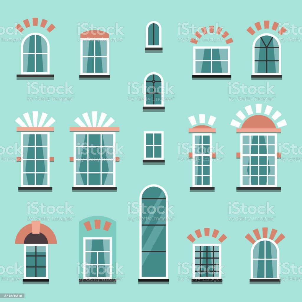 Set of vector plastic or wooden window frames vector art illustration