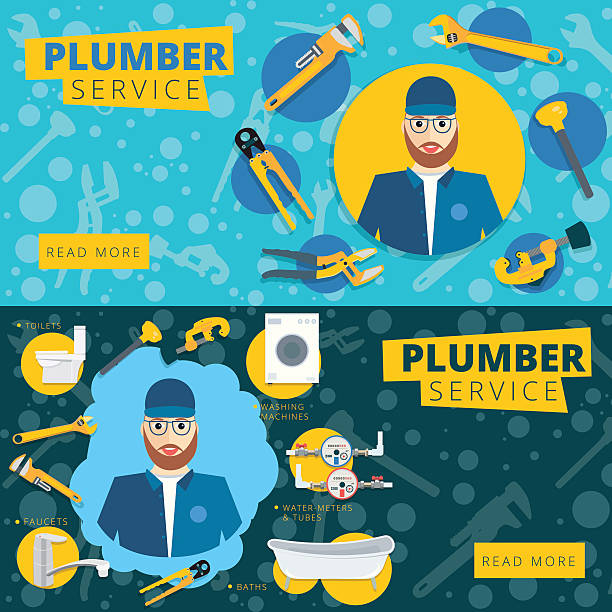 Set of vector plumber service concept web banner design. Set of vector plumber service concept web banner design. Plumbing repair tools background in flat style pipefitter illustrations stock illustrations
