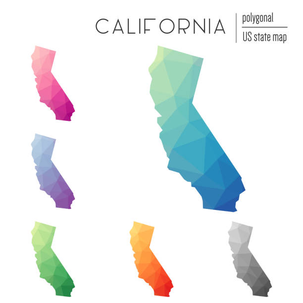 Set of vector polygonal California maps. Set of vector polygonal California maps. Bright gradient map of the US state in low poly style. Multicolored California map in geometric style for your infographics. california map stock illustrations