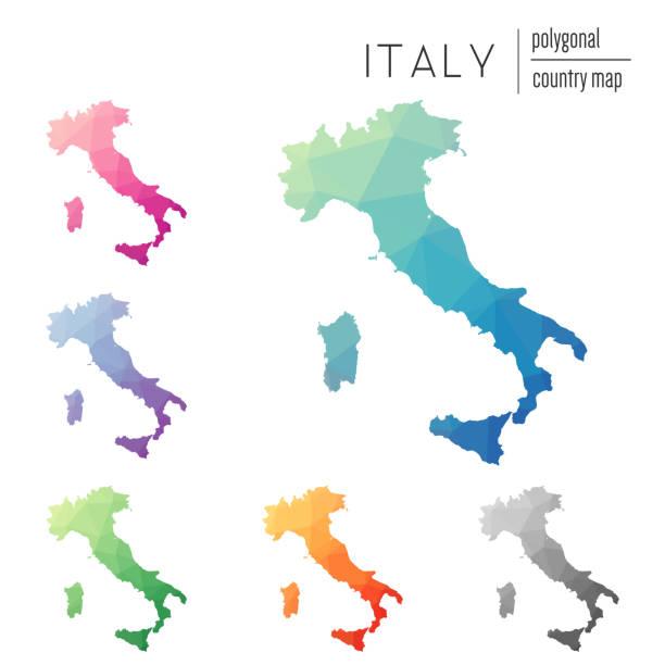 satz von polygonalen italien vektor karten. - italien stock-grafiken, -clipart, -cartoons und -symbole