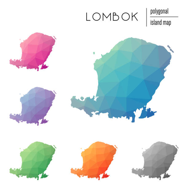 Set of vector polygonal Lombok maps filled with bright gradient of low poly art. Set of vector polygonal Lombok maps filled with bright gradient of low poly art. Multicolored island outline in geometric style for your infographics. lagbok stock illustrations