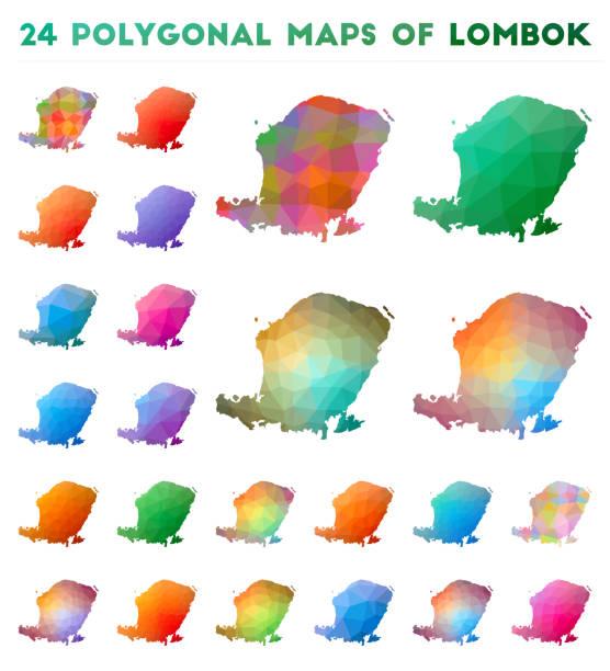 satz von vektor-polygonkarten von lombok. - lombok stock-grafiken, -clipart, -cartoons und -symbole