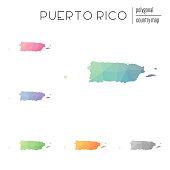 Set of vector polygonal Puerto Rico maps.