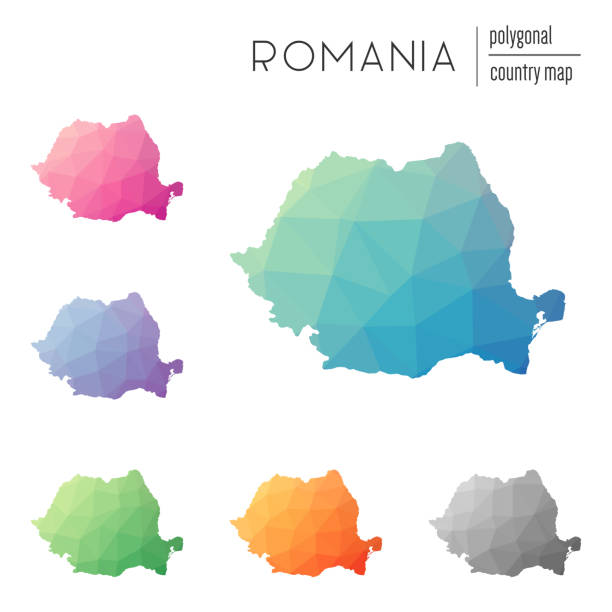 Set of vector polygonal Romania maps. Set of vector polygonal Romania maps. Bright gradient map of country in low poly style. Multicolored Romania map in geometric style for your infographics. romania stock illustrations